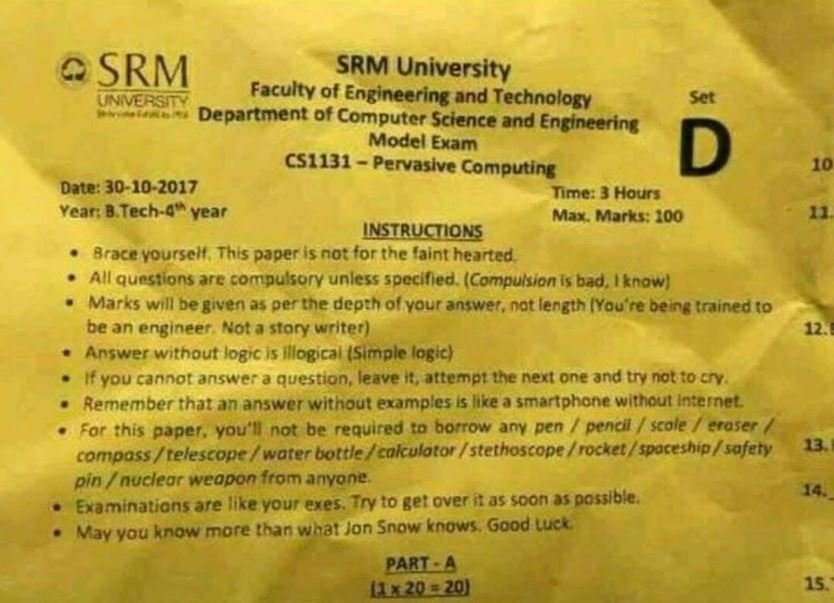 Funnysee Instructions Lecturers At Srm University Gave To