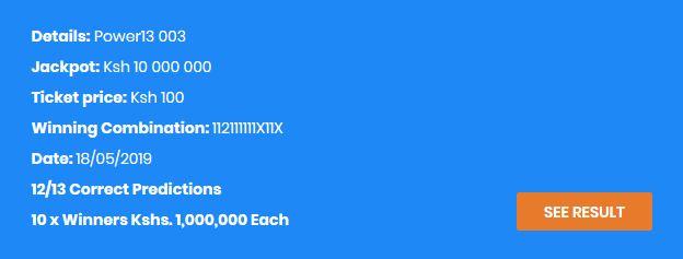 Congratulations!!!Shabiki Power 13 Jaackpot Results – Venas News
